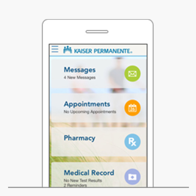 Smartphone displaying the functionalities of the K.P. App: Messages, Appointments, Pharmacy, and Medical Records