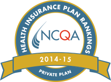 NCQA 'Health Insurnace Plans Private Plans Ranking 2014-2015' logo
