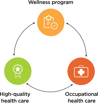 Infographic showing the interrlated services that Kaiser Permanente offers: Wellness Programs, High-quality health care and Occupational health care.