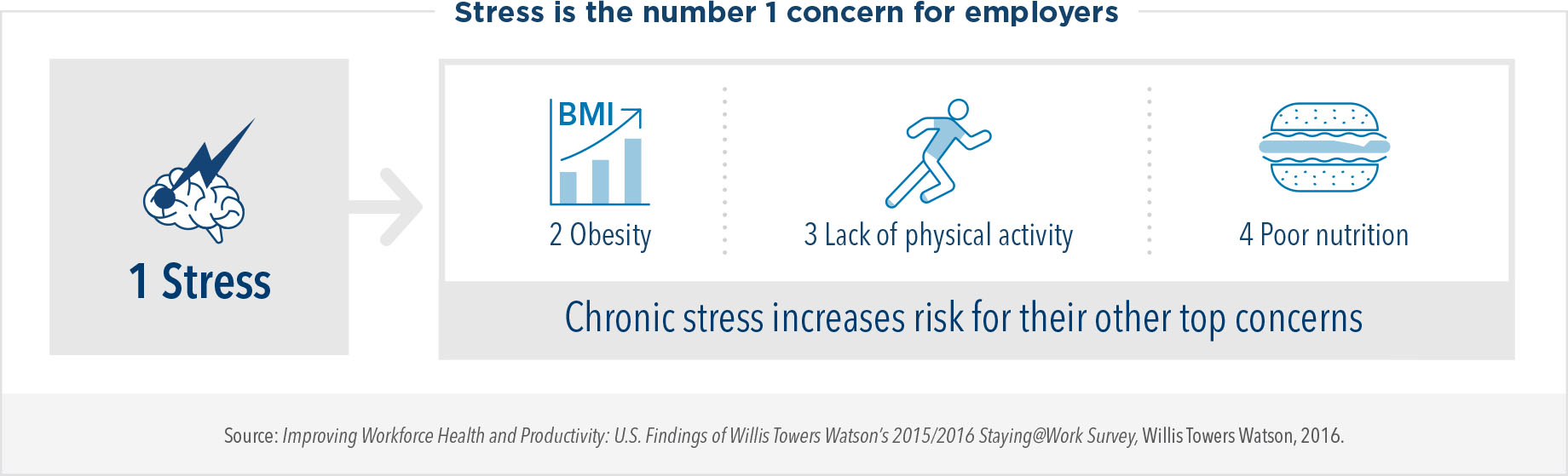 Stress is the number 1 concern for employers. Chronic stress increases risk for obesity, lack of physical activity, and poor nutrition, which are other top concerns of employers.